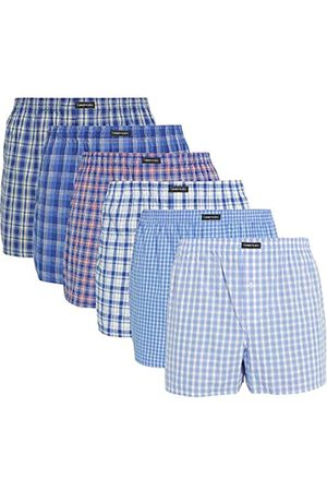 Lower East Herren American Boxershorts, 6er Pack, Mehrfarbig (Business)