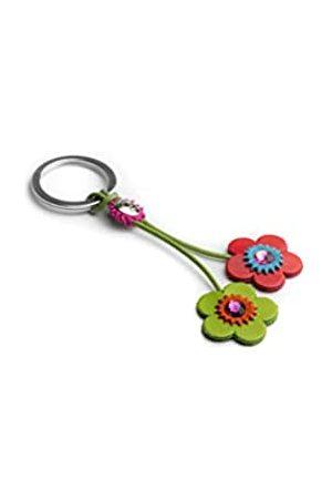 Dallaiti Design Schlüsselanhänger Blume aus Veloursleder Swarovski Kristalle mit Ring aus Metall Schlüsselring 11 cm (Mehrfarbig) - PCA019/6