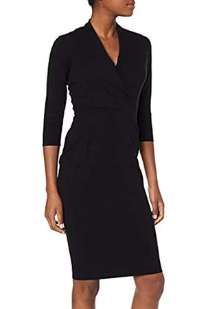 Closet Damen Closet Wrap Pencil Skirt Dress Partykleid, (Black)