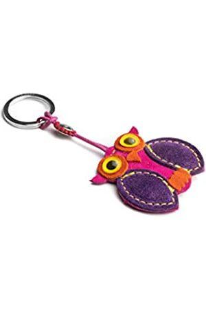 Dallaiti Design Schlüsselanhänger Eule aus Veloursleder mit Ring aus Metall 12 cm (Pink) - PCA045/9