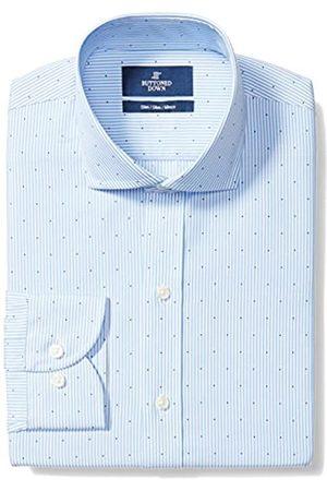 Buttoned Down Slim Fit Cutaway Collar Pattern Smoking Hemd, light blue stripe dot