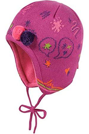 maximo Baby-Mädchen mit Gekritzel und Bommeldeko und Bindeband Mütze