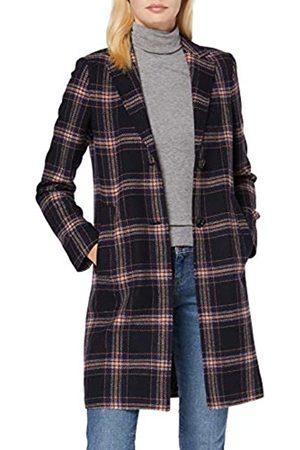 Marc O' Polo Damen 71115 Mantel aus Wolle-Kunstfaser-Mix, moderner Wollmantel mit Karomuster, gefütterter Kurzmantel mit markanten Details