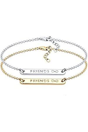 Elli Damen Schmuck Armband Gliederarmband Friends Forever Freundschaftsarmbänder Freundschafts-Set 925 Vergoldet Länge 17 cm