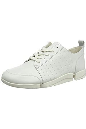 Clarks Damen TriAmelia Edge Sneaker, (White Leather White Leather)