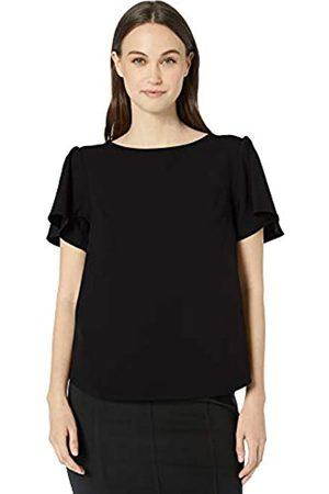 Lark & Ro Stretch Twill Short Sleeve Flutter Top dress-shirts