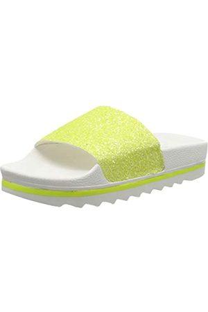THE WHITE BRAND Damen Glitter Matte Peeptoe Sandalen, (Neon Yellow Neon Yellow)