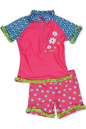 Playshoes Mädchen Einteiler 2-teiliges Badeset Blumen, bestehend aus Badeshirt und allover Badeshorts, UV-Schutz nach Standard 801 und Oeko-Tex Standard 100