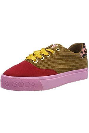 SCOTCH & SODA FOOTWEAR Damen Sylvie Sneaker, Mehrfarbig (Camel/Red S145)