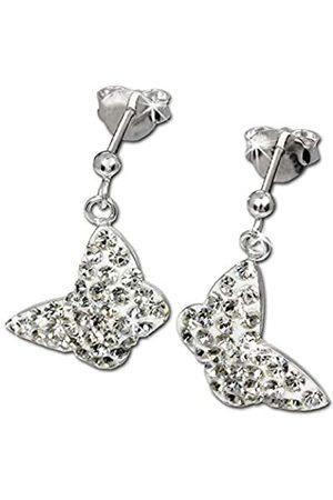 SilberDream Damen-Ohrhänger 925 Sterling Silber Schmetterling Glitzer Zirkonia GSO401W