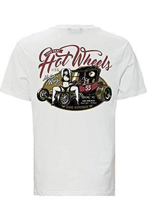 King kerosin Herren T-Shirt Mit Back Print Hot Wheels Rundhals Kurzarm Print-Shirt Regular Fit Bedruckt Abgesteppte Kante Hot Wheels