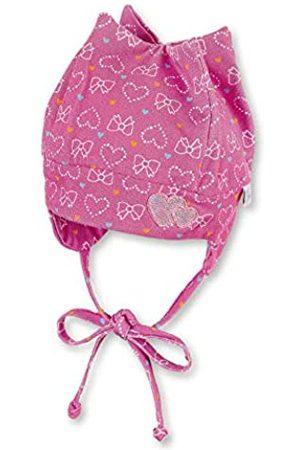 Sterntaler Zackenmütze für Mädchen mit Bindebändern, Ohrenklappen und Herz-/Schleifenmuster, Alter: 5-6 Monate, Größe: 43
