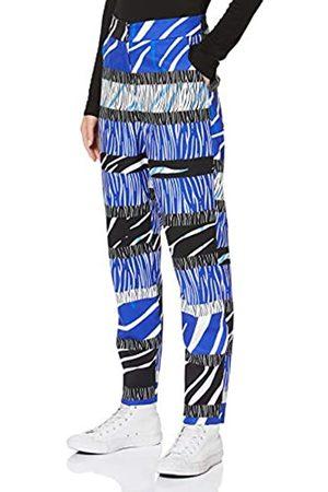 Liquorish Damen Blue Zebra Print Trousers Hose