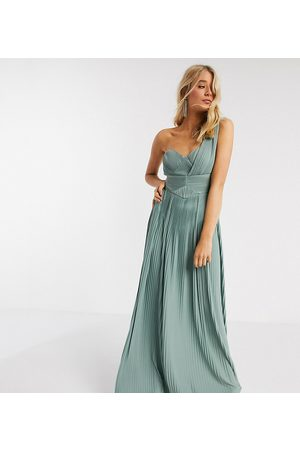 ASOS ASOS DESIGN Tall – Hochwertiges One-Shoulder-Maxikleid mit Plissee-Einsatz in Spearmint