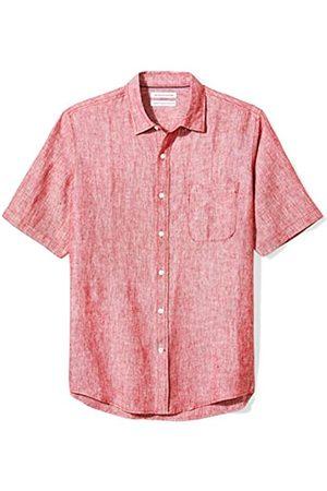 Amazon Herren-Hemd, Kurzarm, reguläre Passform, aus Leinen, Red