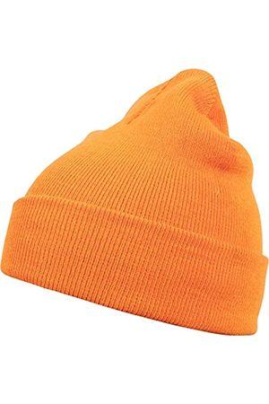 MSTRDS Unisex Strickmütze Basic Flap Beanie - einfarbige, neutrale Wintermütze für Damen und Herren ohne Druck und Stick, ohne Logo - Farbe neonorange