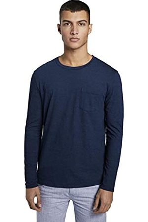 TOM TAILOR Mens Indigo Langarm Long Sleeve EUR Top, 10119-Used Mid Stone Blue