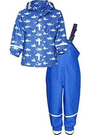 Playshoes Kinder Regenanzug, zweiteiliges Regen-Set für Jungen mit abnehmbarer Kapuze, mit Hai-Muster