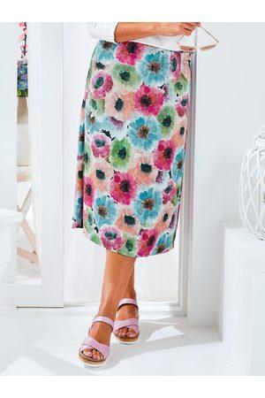 Avena Damen Bedruckte Röcke - Damen Rock Aquarell-Blumen Rosé