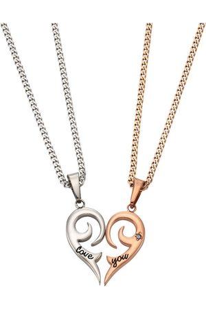 Firetti Schmuckset: Partnerschmuck bestehend aus 2 Halsketten und Anhängern 'Herz' (Set 4tlg.)