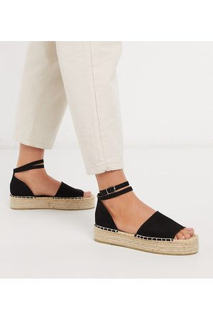 South Beach – Exclusive – Schwarze Flatform-Espadrilles
