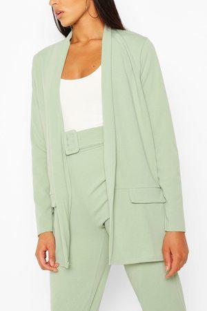 Boohoo Womens Anzug-Set Mit Eng Anliegendem Blazer Und Hose Mit Gürtel Aus Dem Gleichen Material - - 34
