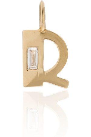 Lizzie Mandler 18kt 'R' Gelbgoldanhänger mit einem Diamanten