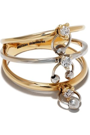DELFINA DELETTREZ 18kt 'Two In One' Gelb- und Weißgoldring mit Diamanten
