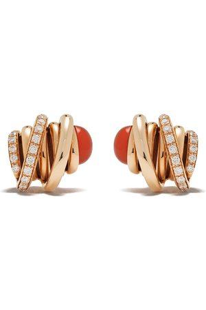 De Grisogono 18kt Rotgoldohrstecker mit Karneol und Diamanten