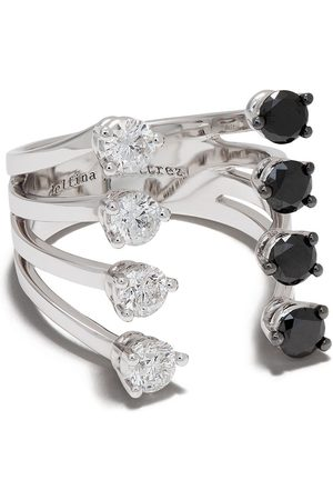 DELFINA DELETTREZ 18kt 'Domino Dots' Weißgoldring mit Diamanten
