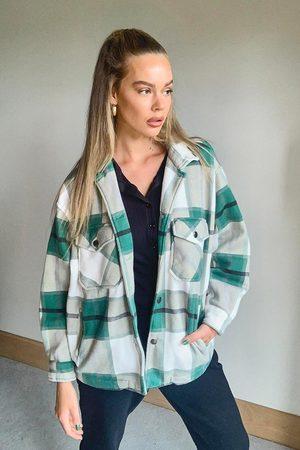 Boohoo Damen Jeansjacken - Womens Trucker-Jacke In Wolloptik Mit Passendem Karomuster - - S