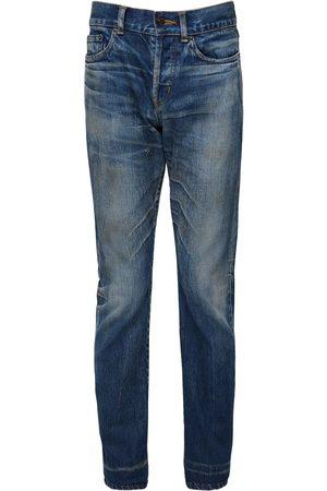 Saint Laurent 17cm Logo Slim Fit Cotton Denim Jeans