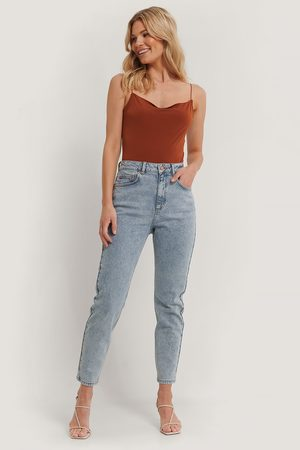 NA-KD Damen Baggy & Boyfriend - Mom Jeans - Blue