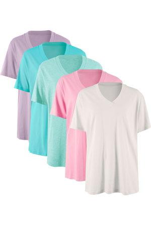 bonprix Longshirt mit V-Ausschnitt (5er Pack), Kurzarm