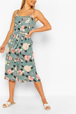Boohoo Womens Floral Print Strappy Culotte Jumpsuit - - S