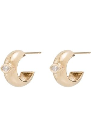 Zoe Chicco Damen Ohrringe - 14kt Goldcreolen mit einem Diamanten