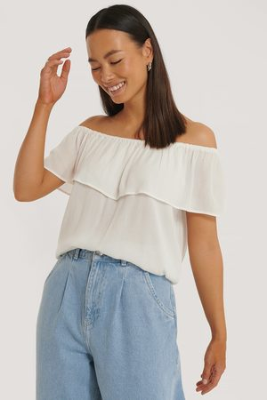 Sparkz Damen Tops & T-Shirts - Schulterfreies Top - Offwhite