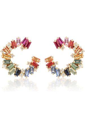 Suzanne Kalan Damen Ohrringe - Ohrringe Rainbow Spiral aus 18kt Gelbgold mit Diamanten und Saphiren