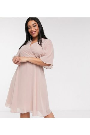 Simply Be – Midi-Wickelkleid in Blush