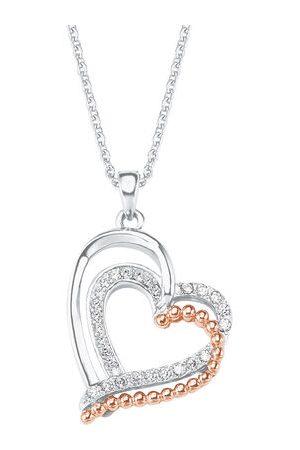 Amor Kette mit Anhänger für Damen Herz-Motiv bicolor, Silber 925, mehrfarbig