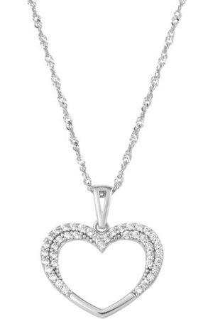 Amor Damen Halsketten - Kette mit Anhänger für Damen, Weißgold 375, Herz Zirkonia, mehrfarbig