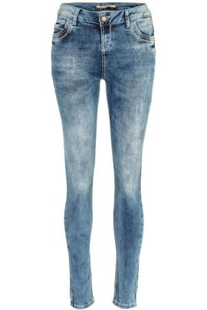 Cipo & Baxx Damen Slim - Slim-fit-Jeans in verwaschener Optik in Skinny Fit