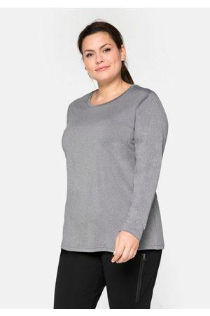 Sheego Damen Longsleeves - Langarmshirt mit reflektierendem Rückendruck