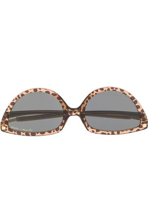 MARTINE ROSE Cat-Eye-Sonnenbrille mit Leopardenmuster