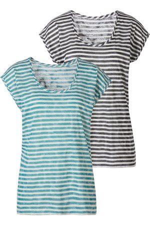 Lascana T-Shirt (2er-Pack) Ausbrenner-Qualität mit leicht transparentem Palmenblatt-Design