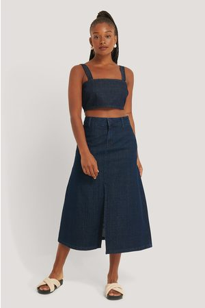 NA-KD Midi Denim Rock - Blue