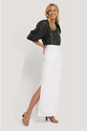NA-KD Damen Maxiröcke - Side Split Maxi Denim Skirt - White