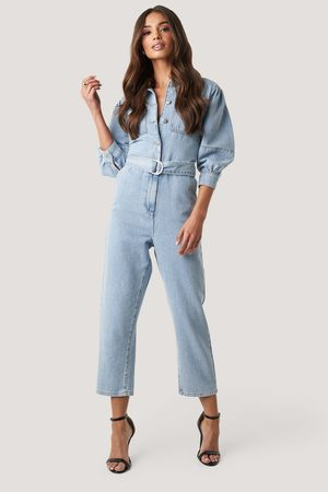NA-KD Puff Sleeve Jumpsuit - Blue