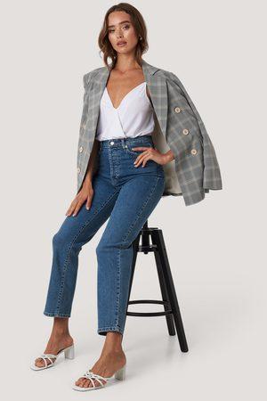 NA-KD Straight High Waist Jeans - Blue