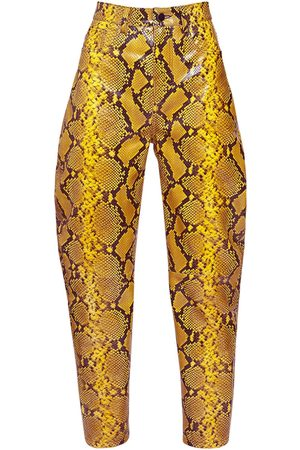 The Attico Python Print Leather Slouchy Pants